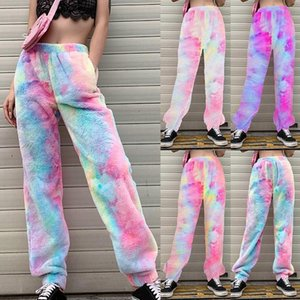 Las mujeres la manera del invierno del arco iris Pantalones Fleece Pantalones Pantalones Streetwear Harajuku caliente del invierno Mujer Teddy Fleece Pantalones