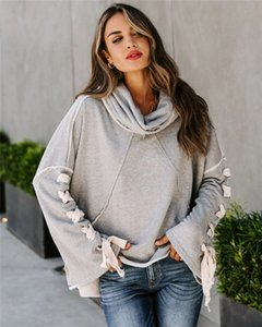 Women Long Sleeve Stand Collar Solid Color Casual Stitching Hoodies Comfortable Autumn Womens Clothing Home Suits E098