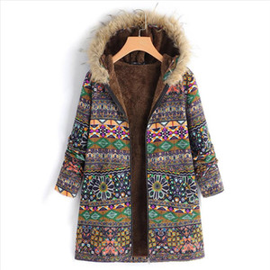 Winter Warm Coat Womens Outwear Floral Print Hooded Pockets Vintage Oversize Coats Womens Drop Shipping Good Quality