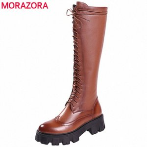 MORAZORA 2020 New Genuine Leather Boots Lace Up Platform Knee High Boots Brown Knight Winter Autumn Winter Shoes Boots Pharmacy Chukka fI8D#