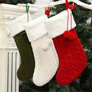 Профессиональное Рождество трикотажного шерстяного носков Держатель с Плюшевым Балом Деревом висячего Рождественского чулка подарками чулки Мода Рождество HWE2492