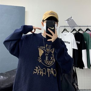 ZAZOMDE Winter New Couple Sweaters Casual Oversize Men's Pullovers Korean Cat Streetwear Graphic Printed Male Sweater 201221