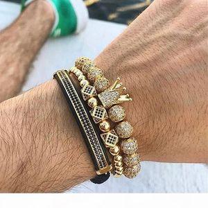 K 3pcs Set Hip Hop Gold Crown Bracelets 8mm Cubic Micro Pave Cz Ball Charm Braided Braiding Man Luxury Jewelry Pulseira Bileklik C19021