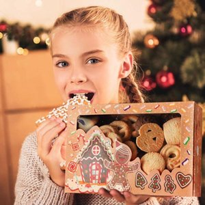 24pcs Kraft Paper Christmas Cookie Gift Boxes with Clear Window 18*12*5cm New Year Favors Boxes for Cookies Treats