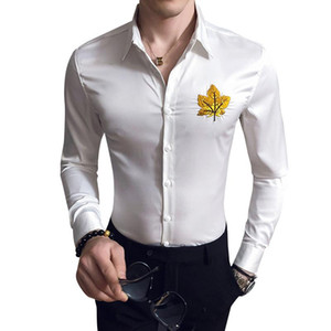 Maple Leavs Button Down Embroidery Dress Shirts Long Sleeve Work Business Formal Shirt For Men Camisa Social Masculina V332