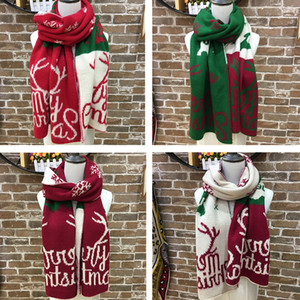 Women Letter Pattern Scarves Colorful Shawl Wrap Oversized 195x38CM Shawl Winter Neckerchief Blanket Scarf Christmas Party Accessories