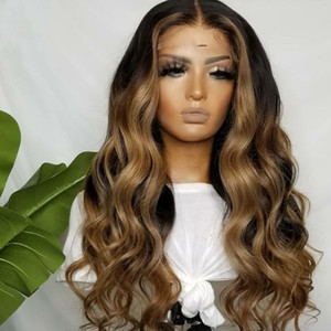 13x6 Lace Frontal New Cap Remy Brasilian Silk Top Ombre Highlights 27 # Rubia encaje frontal peluca gruesa larga media peluca completa