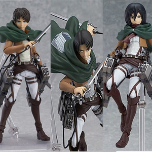 Figma 203 207 213 PVC Action Figure Attack on Titan Figures Anime Eren Jaeger Mikasa Levi Rivaille Ackerman Figure Model Toy Gif 1008