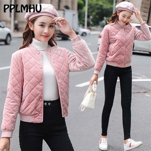 Candy Color Pink Baseball Jacket Velvet Spring New White Casual Short Thin Outwear Women Basic Black Khaki Cropped Button Coat