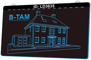 LD3635 B TAM Bouwkundig Teken Adviesbureau House Building 3D Engraving LED Light Sign 9 Colors Wholesale Retail Free Design