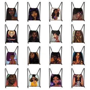 Afro Kız İpli Çanta Sırt Çantası Öğrencileri Seyahat Çantası Amerikan Afrika Kadınlar Lüks Tasarımcılar Çanta Siyah Kızlar Alışveriş Saklama Torbaları E123004