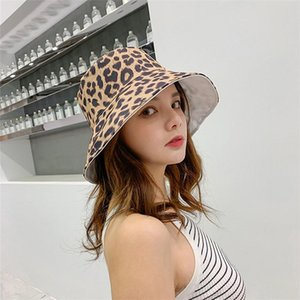 New Fashion Women Bucket Hat Girls Visor Leopard Double-sided Fisherman Hat