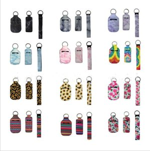 RTS Christmas Gift Sets Hand Sanitizer Covers Wristlet Chapstick holder Portable Neoprene Cover with Keychain storage bag GWC3141