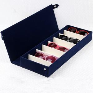 8 griglie Flock bagagli pelle scamosciata del contenitore della cassa di vetro del collezionista con occhiali da sole coperchio del display Vigilanza blu Organizer