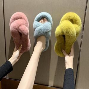 Manera de la piel de las mujeres zapatillas de conejo grande del pelo de las mujeres ocasionales Hairy punta abierta de la Cruz flip-flop de los zapatos de otoño y del invierno