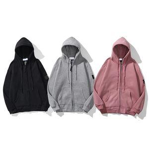 2021 Sonbahar Island Erkekler Rahat Logo Uzun Kollu Taş Hoodies Fermuar Cepler Işlemeli Kapüşonlu Sweatshirt