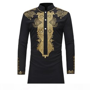 Men Shirt African Style Clothing Men's Clothing Africa Dashiki Traditional National Hot gold Printed Long-sleeved Shirt White M-08