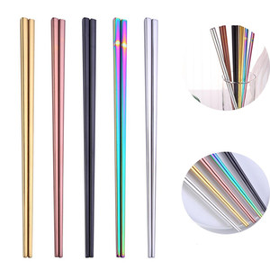 304 Stainless Steel Chopsticks Square Chopsticks Flatware Home Hotel Simple Style Tableware 23*7CM BWC4010