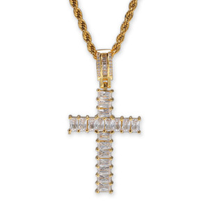 2020 New Arrival Real Gold Plated T Square Cubic Zircon Cross Pendant Necklace Personalized Full Diamond Hip Hop Jewelry Gifts for Lovers