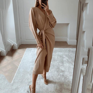 2020 Autumn Winter Women Knitted Dress Elegant Casual V neck Long Sleeve Midi Cardigan Solid Loose Split Side Sweaters Dresses