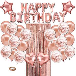 28pcs rose gold birthday balloon rain curtain latex balloon suit party decorations
