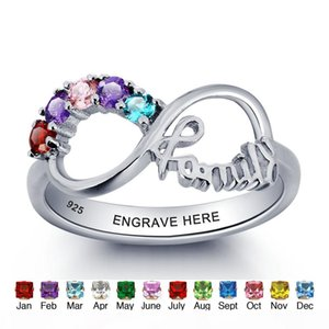 yizhan Personalized Infinity DIY Love Family Ring Colorful Cubic Zirconia 925 Sterling Silver Jewelry Free Gift Box (Silveren SI1784)
