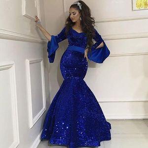 Écriming bleu royal paillettes de sirène paillettes robes de soirée longue manches arabes robes de bal arabes vestidos de gala largos robe de fête formelle vestaglia