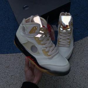 2021 Jumpman OG 5 5S vela Fuego Muslin Rojo Negro 3M Reflexivo Virgil Ablohs Hombres Zapatos de baloncesto con caja doble DH8565-100