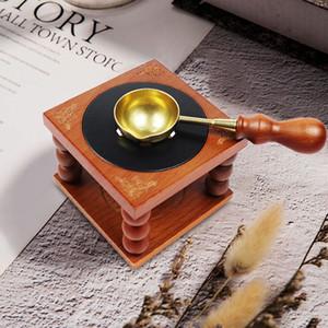 Cire d'étanchéité Tampon four cuillère Holder rétro cire à cacheter Outils de cire Sticks perles Melting Kit cadeau Craft décorative avec une cuillère Q1114