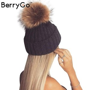 Beanie Skull Caps BerryGo Removable Real Fur Pompon Warm Stocking Hat 2021 Autumn Cap Winter Female Bobble Hats For Women Skullies Beanies