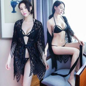 2RK5D сексуальное нижнее белье сексуальное кружево прозрачное три части костюм нижнее белье Pajamaslace Pajamas Pajamas женская горячая летняя ночная рубашка искушение p