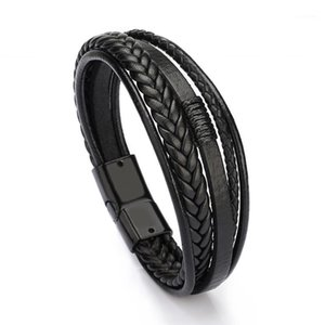 Mens Ieather Bracelet Leather Bangles For Men Magnetic-Clasp Cowhide Braided Multi Layer Wrap Bracelet Man Pulseras Para Hombre1