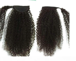 Afro Kinky Curly Hair Human PonyTail Extensions 120g Wrap Drewstring Human Hair Clip en Ponytail Malaysian Remy Hair