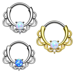 Top quality 316L stainless steel gem stone nose piercing ring body jewelry nipple ring