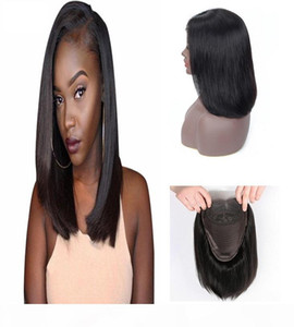 New Designer Fashion Short Bobo Straight 4*4 Lace Front Human Hair Wigs Hot Selling Full head Set Remy Brazilian Hair Natural Black