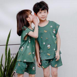 Cartoon Kids Pajamas Sets Cotton Boys Sleepwear Suit Summer Girls Pajamas Short-Sleeved Tops + Pants 2pcsset Children Sleep Clothes