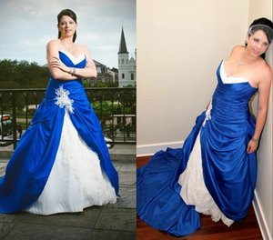 Royal Blue and White 2021 Princess Cheap Wedding Dresses Sweetheart Lace Taffeta Ruched Court Train Wedding Bridal Gowns Vestidos De Novia