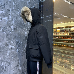WOLF-Pelz hoold Mantel Männer Winterjacke Mode Winter Daunenjacken Warmer Hoodie schwarz Daunenparka warmer Mantel lässig warmer Mantel Kleidung