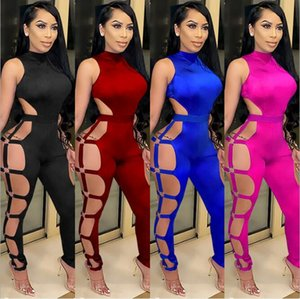 European and American hot selling summer fashion women's sexy hollow nightclub tight-fitting backless jumpsuit women