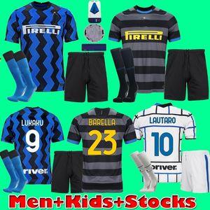 Homens crianças kit camisa de futebol Inter de Milão Lukaku VIDAL Barella LAUTARO ERIKSEN ALEXIS 20 da camisa 2020 2021 uniformes Hakimi 21 de futebol