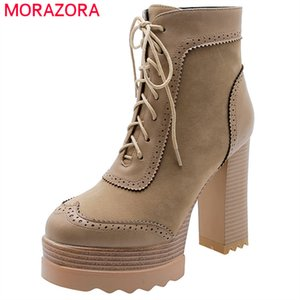 MORAZORA Newest winter boots women high heels platform shoes zip lace up fashion dress party shoes woman ankle boots 201020