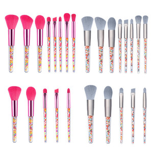 New Pink Candy Transparent Handle Makeup Brushes Set Eye Shadow Foundation Powder Make Up Brush Cosmetic Cute Beauty Tool