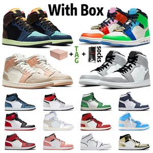 Con la scatola originale della Jumpman x 1 1s bianchi fuori scarpe da basket delle donne degli uomini di alta Cactus Jack rasoGiordaniaRetro Mid Milano Sneakers