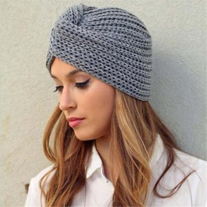 Women's Knitted Turban Hats bohemia turban cashmere cross wrap head hat wool knitting bonnet turbante cap ready to