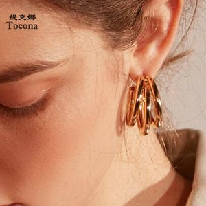 Tocona Classical Gold Color Hoop Earrings For Women Ladies 3 Round Shape Design Earrings Jewelry Present Drop Shipping 6984