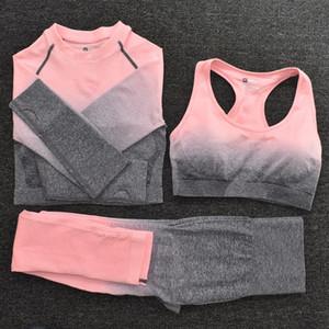 النساء التدرج لون سلس اليوغا مجموعة رياضة اللياقة البدنية دعوى الصدرية طماق عالية الخصر الجري الجوارب scrunch بعقب الرياضة اليوغا البدلة تراكسويت