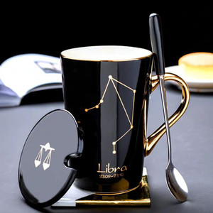 Ceramic Mugs 12 Constellations Creative Glass with Spoon Lid Black and Gold Porcelain Zodiac Milk Coffee Cup Drinkware