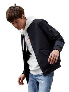Pocket Zip Bomber Semir Semir con chaqueta impermeable Manguito Basébol Frente Hombres Moda HHIAJ
