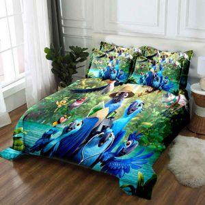 WOSTAR 2020 classic Blue parrot 3d bedding set queen king duvet cover and pillowcases Home textiles linen bedclothes