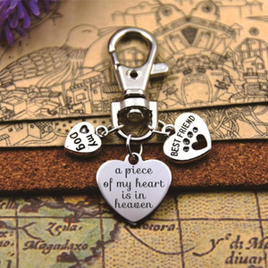 """High quality keychain with 20mm stainless steel heart charms"""" print, pet loss, rainbow bridge"""" with best friend love my dog"""